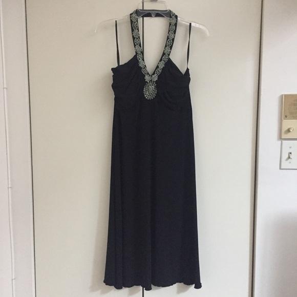 Spense Dresses & Skirts - Black halter dress with beaded neckline, size 10